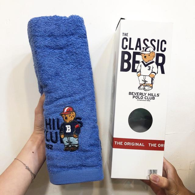 預購 泰國 比佛利POLO熊純棉大條浴巾(附盒子)