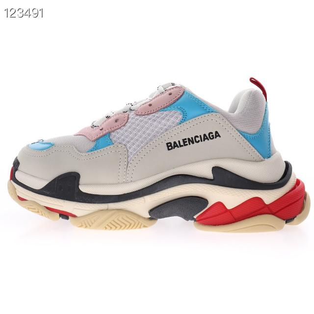 高奢品牌,巴黎世家時裝復古厚底增高百搭休閒運動姥爺球鞋「淺灰天藍粉黑紅」