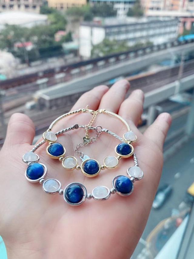 #能量晶石 天然藍晶白月光石925純銀手鍊(Y20147)#香港老店