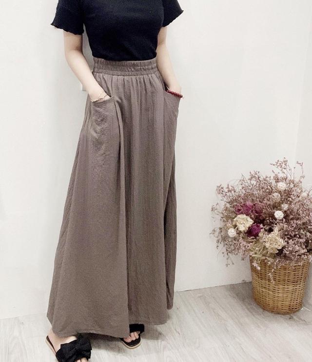 棉麻料高彈性雙口袋長裙