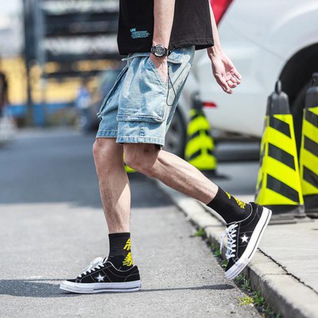 M~5XL 優質休閒多口袋5分牛仔褲(2色)
