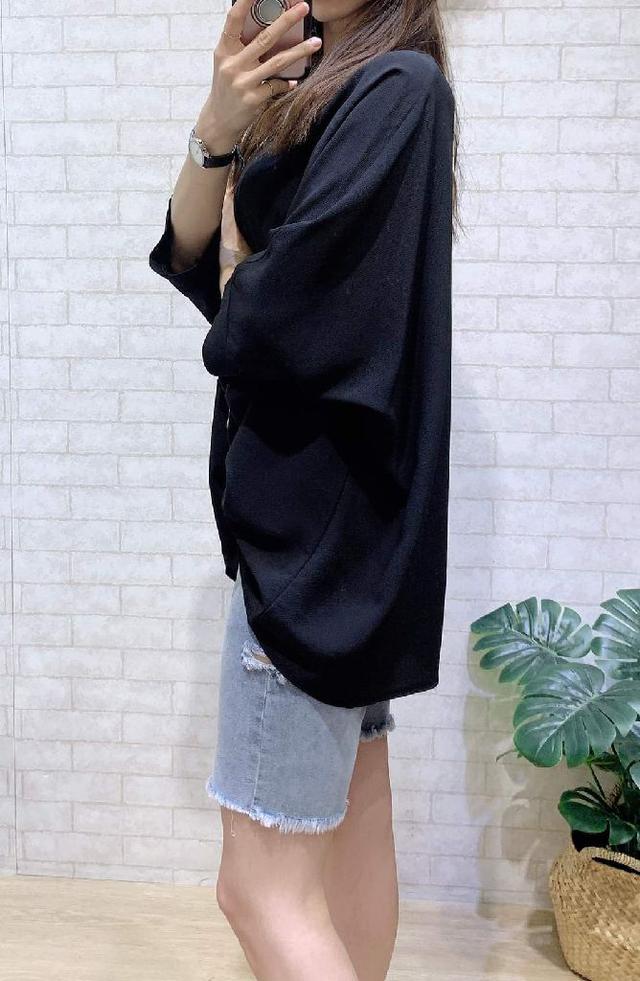 W008爆款❣️百搭寬鬆連袖純色上衣
