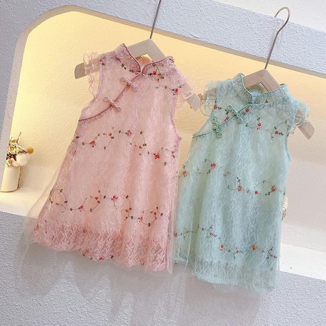 女童夏裝旗袍連衣裙2021新款兒童中國風蕾絲公主裙寶寶洋氣漢服裙