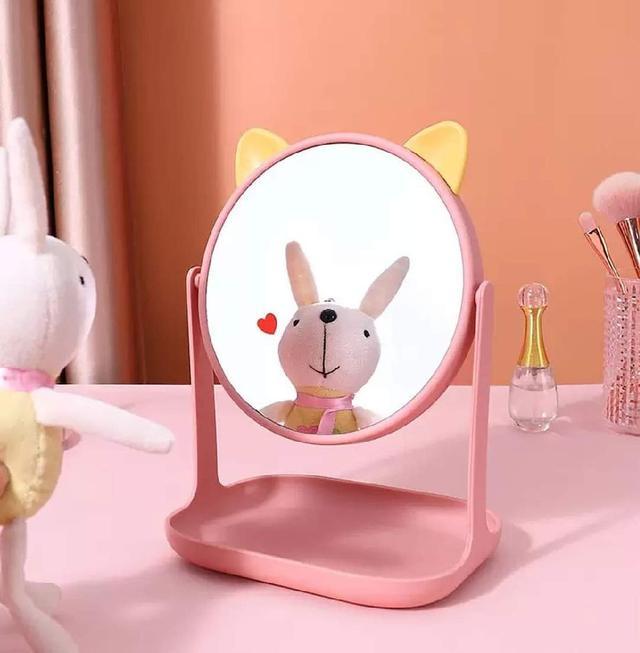 (預購s+) A575-貓耳旋轉帶托盤化妝鏡