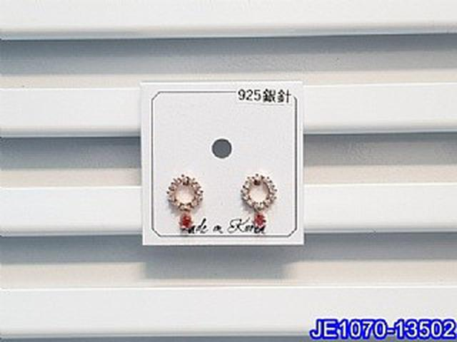 正韓S925純銀 小巧微鑲鋯石鏤空圓環耳環   耳針 韓式