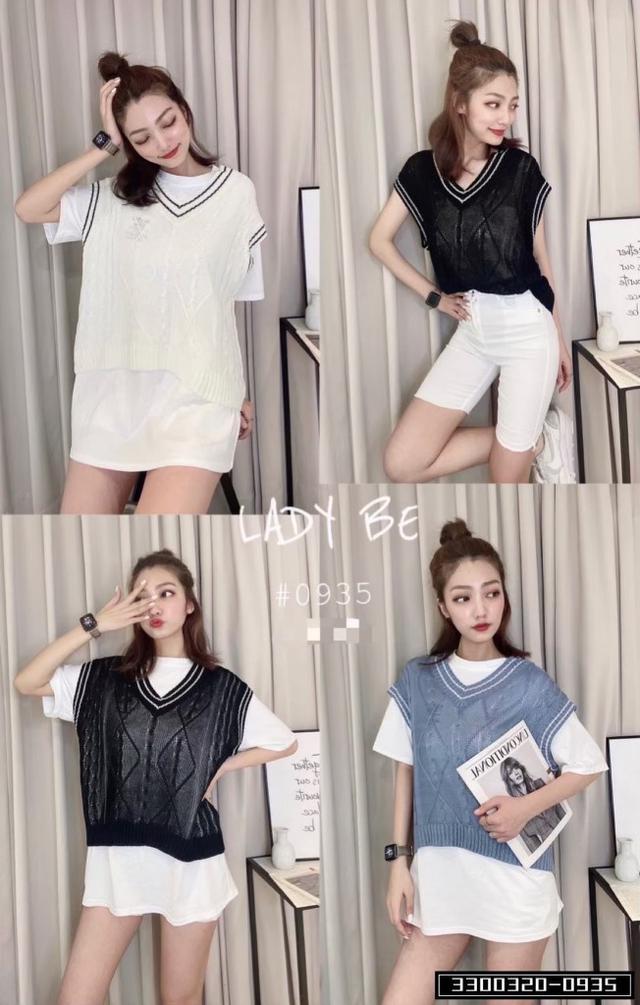 正韓女裝 微透視針織雪紡衫