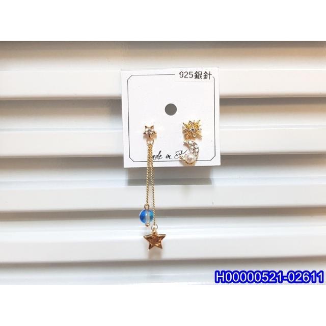 正韓S925純銀 八芒星星月亮三件套耳環   耳針 韓式