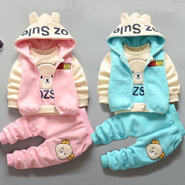 OZ熊系列 上衣+褲子+背心男女童加絨加厚秋天套裝女寶寶秋冬款1-3-4歲兒童