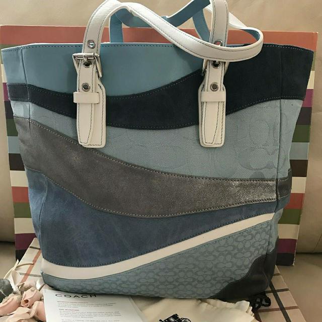 全新真品 Coach 10652 藍色系拼布手提肩背包