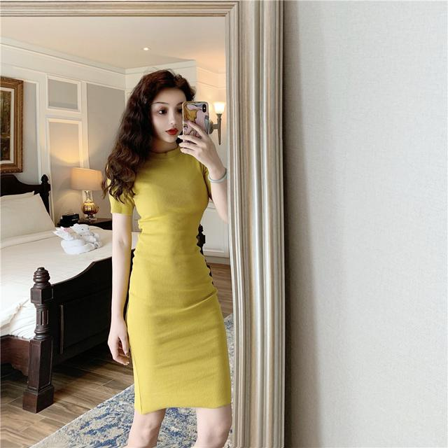 0210 復古優雅緊身彈力連衣裙(6色) 192125