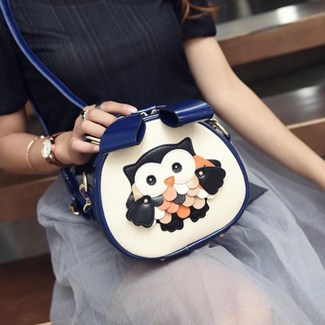 (預購)韩版甜美可愛卡通貓頭鹰小圓包(米)