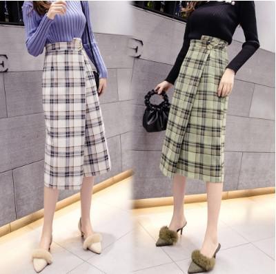 11/20 S-XL OL高腰不規則格子毛呢包臀半身裙(2色)