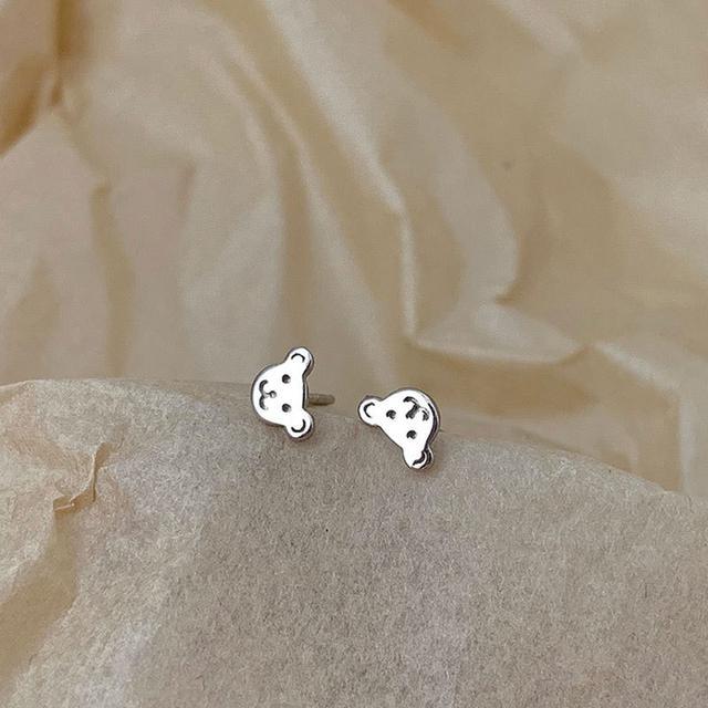 925純銀小熊耳釘簡約設計氣質可愛小眾森系學生女耳環日系潮