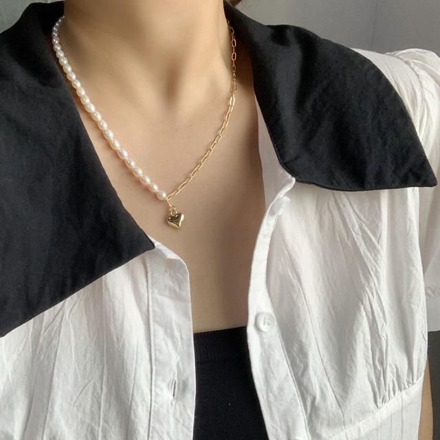高品質淡水珍珠鍍14K項鍊創意氣質日韓簡約鎖骨鏈溫柔飾品