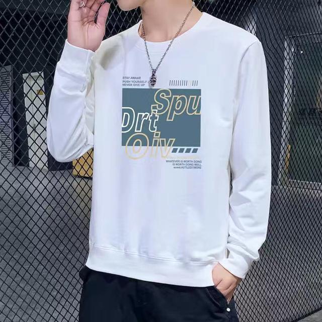 2020春秋季圓領衛衣男士寬松上衣服大碼休閒運動長袖T恤