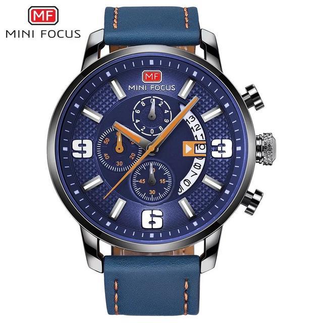 預購 - Mini Focus 精品手錶 藍白(錶帶藍)