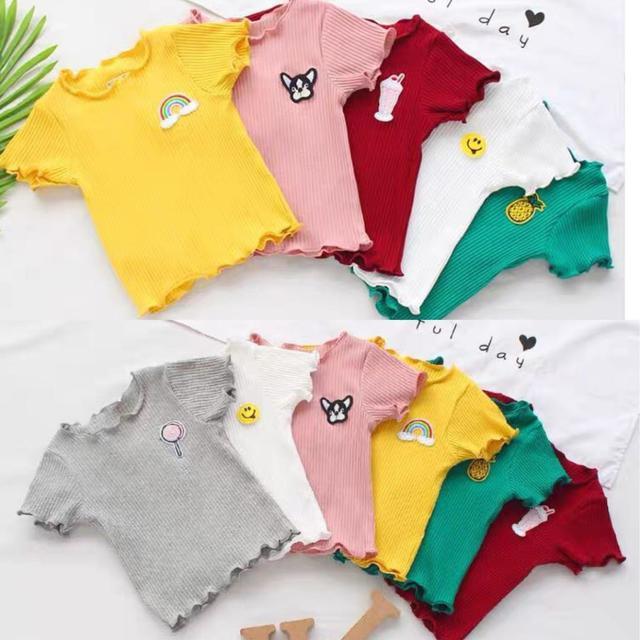 (預購)新款韓版中小女童寶寶夏季百搭短袖t恤纯色棉木耳邊弹力坑條1-4歲