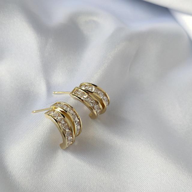 2021新款潮IG爆款925銀針鋯石耳釘網紅耳環韓國氣質鍍14K耳飾女