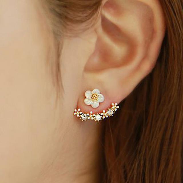 韓國飾品耳丁氣質後掛式耳釘女士小雛菊花朵耳飾韓版配飾裝飾品