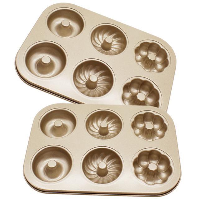 金色6連 三花不沾烤盤 甜甜圈 麵包圓形 曲奇烘焙模具