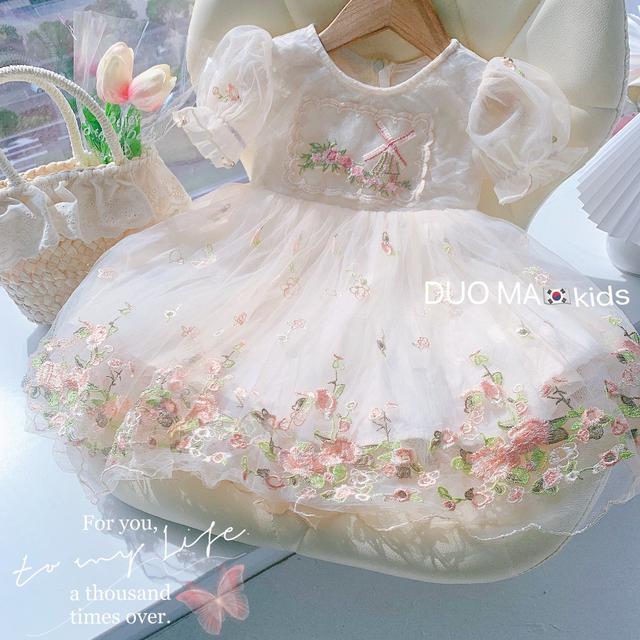 ⚜夏季裙子中小童泡泡袖洋氣網纱绣花纱裙