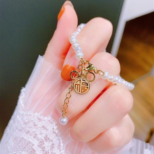 新年大福鍍金米奇金鼠 珍珠手鍊~高貴珍珠