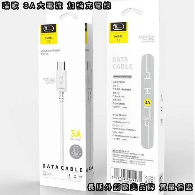 瑞歌RESONG 3A100M 5D立體碳纖維快充數據線-W097-高現