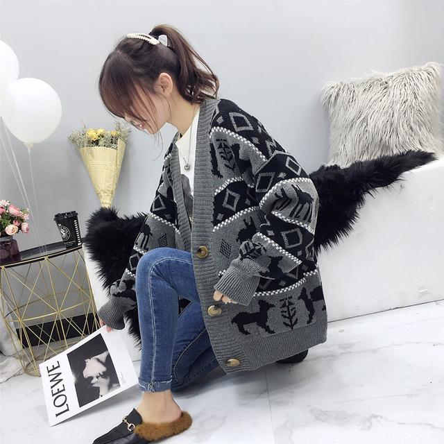 10月 毛衣開衫韓版百搭寬鬆港風(兩色入)