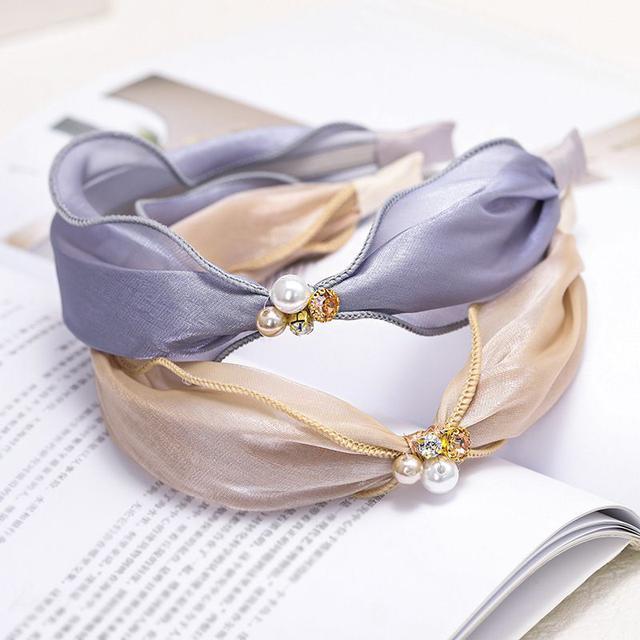 綢緞珍珠水鑽髮箍