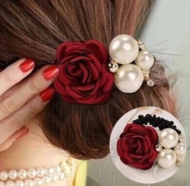 珍珠玫瑰花髮圈