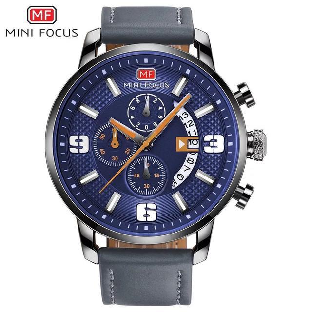 預購 - Mini Focus 精品手錶 藍白(錶帶灰)