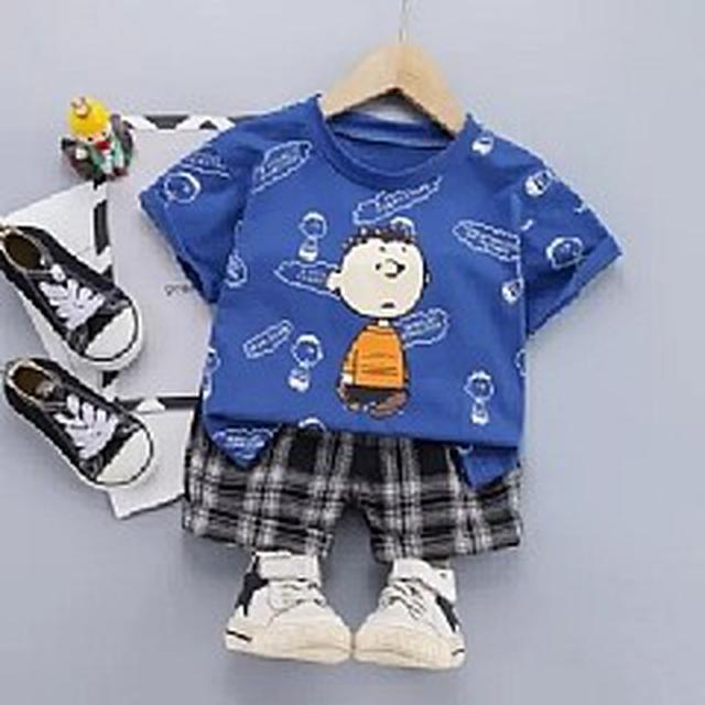 優質小童裝 (80-120) 薄款純棉卡車通印花T恤+褲子套裝(4色)