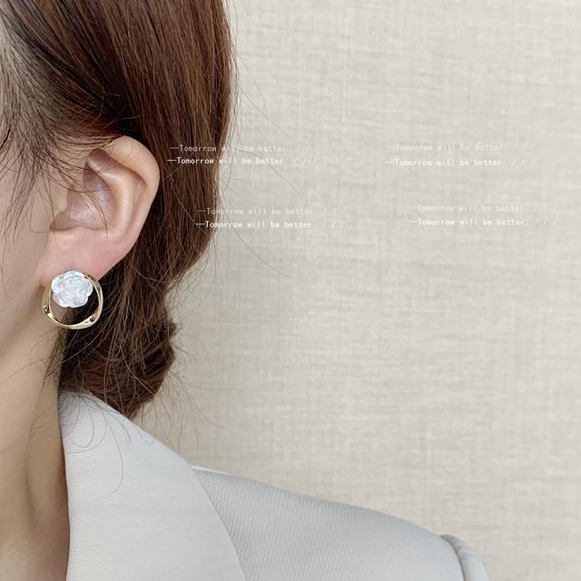 玫瑰日記~法式復古甜美花朵耳釘高級感氣質優雅溫柔耳環 銀針耳飾