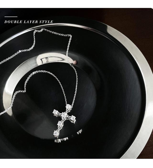 925純銀ins冷淡風吊墜韓版時尚氣質項鍊女小眾設計感鋯石鎖骨鍊子