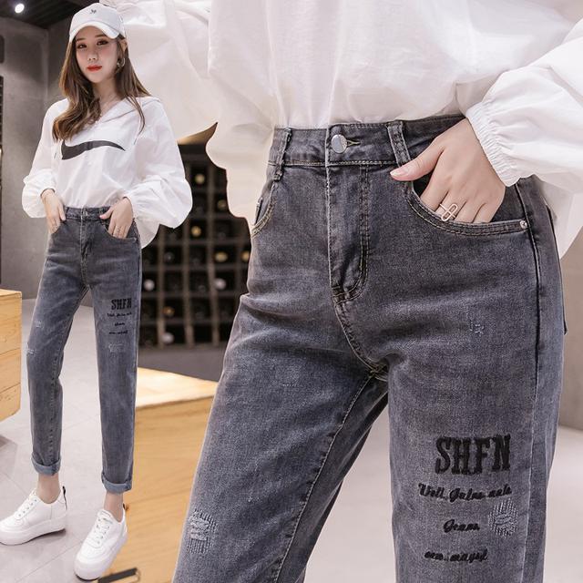 11 26-31 牛仔褲女破洞修身顯瘦刺繡彈力