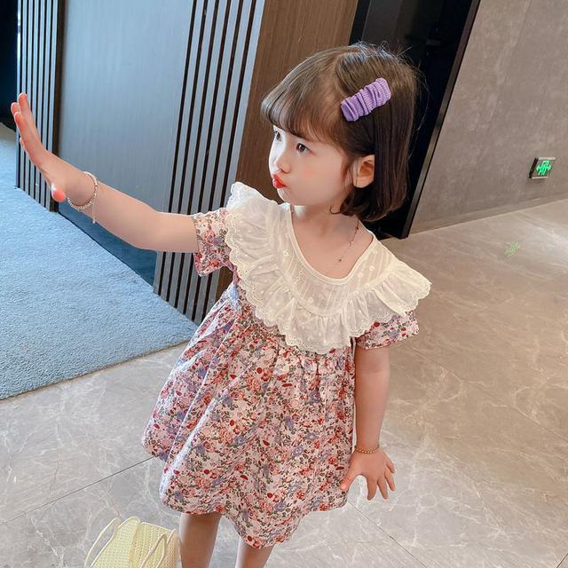 女童短袖連衣裙2021夏季新款寶寶花邊領碎花裙