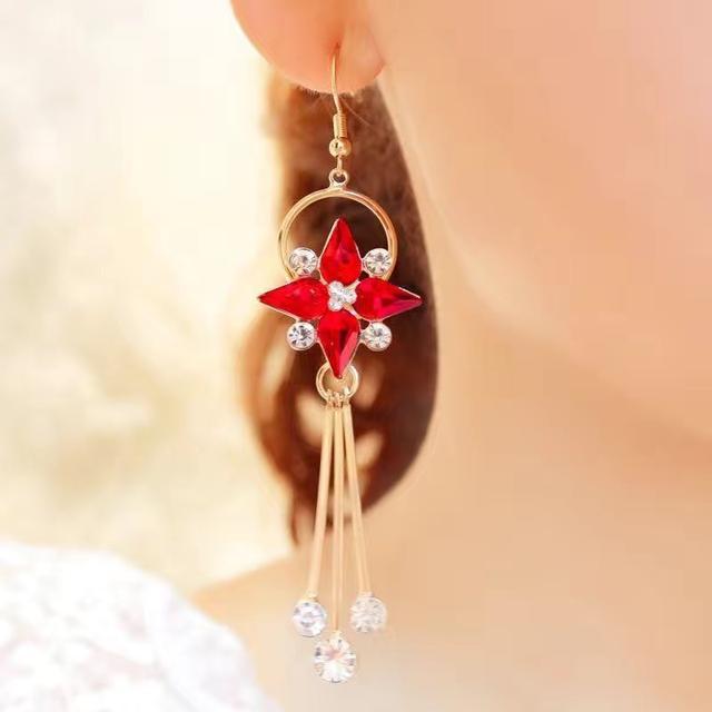 S925防過敏耳墜紅色耳環長款流蘇耳飾耳釘時尚百搭飾品