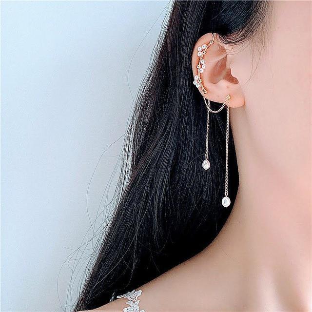 🌟現貨+預購🌟正韓天然珍珠流蘇耳洞耳骨夾