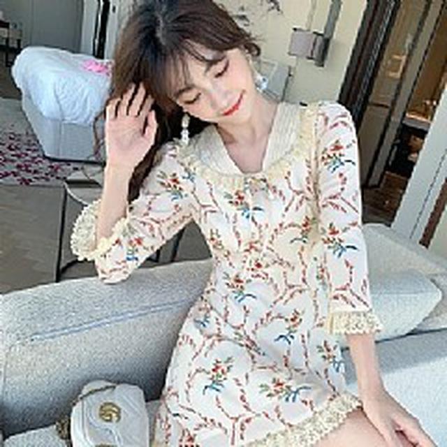 S✿優質歐韓女裝SCB6338韓版專櫃 法國復古印花高腰短款連衣裙