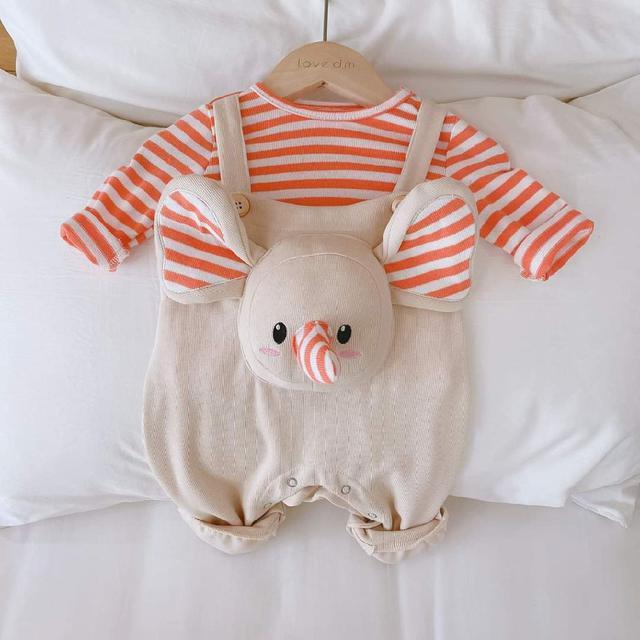 【預購】寶寶玩偶吊帶褲套裝2件組