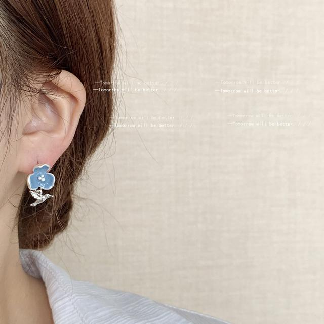 啾啾~復古法式滴油花朵小鳥耳環耳釘 高級感設計氣質冷淡港風耳飾