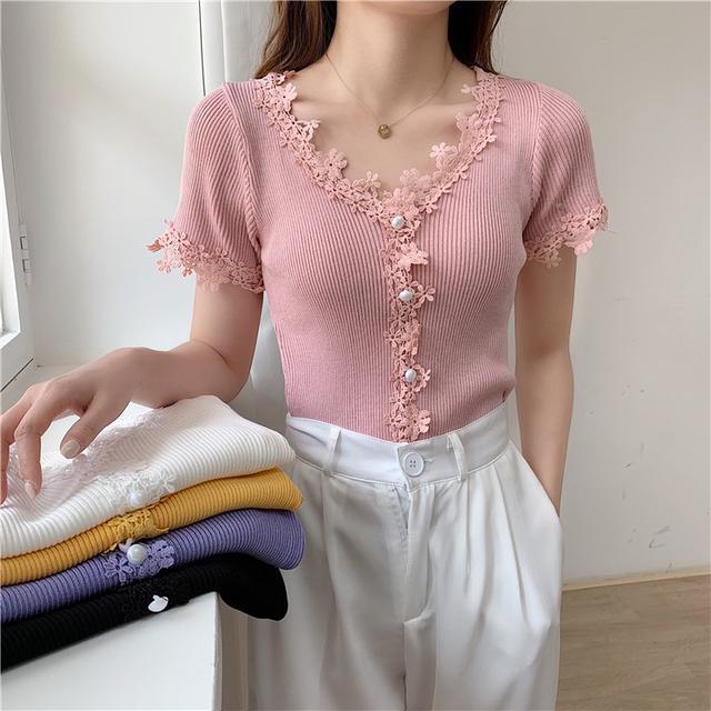 34964  蕾絲花邊V領修身顯瘦短袖針織衫