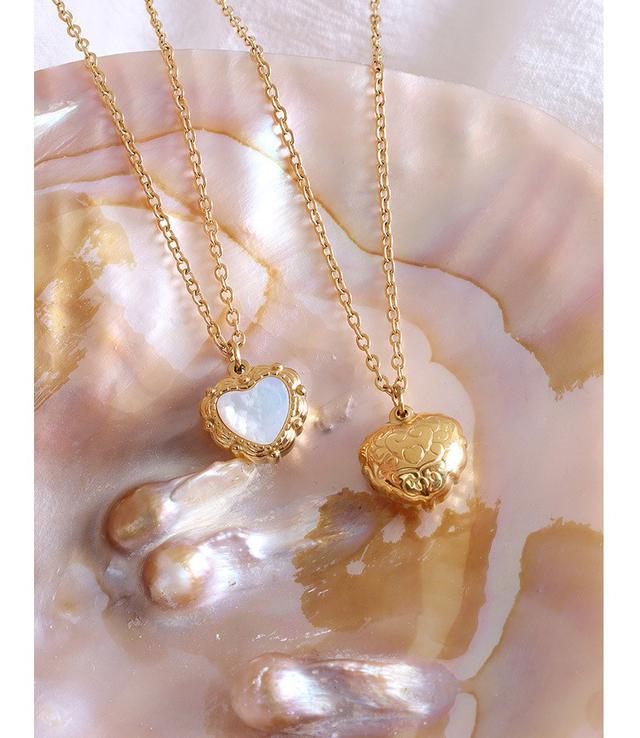 歐美IG風自然生長愛心白海貝吊墜項鍊鈦鋼鍍18真金項鍊飾品