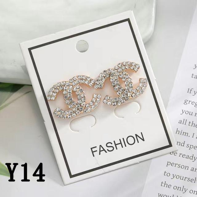小香時尚百搭個性耳環經典不過時C耳飾金色和滴油滿鑽耳釘