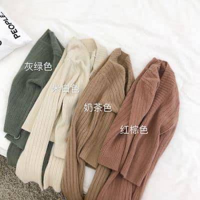 復古慵懶風喇叭袖針織短版外套