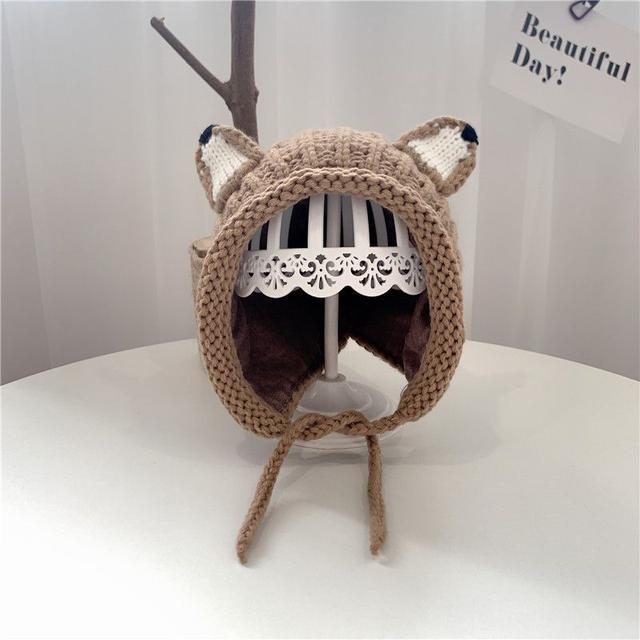 【預購】兒童狐狸耳朵加絨毛線帽