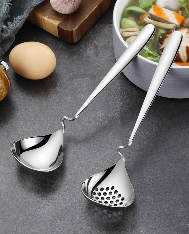 (預購S) G484 - 可掛鍋邊304不鏽鋼湯勺漏勺