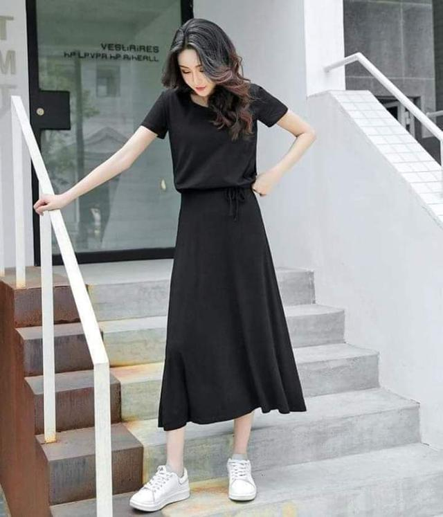 莫代爾圓領T恤+半身長裙兩件套裝(預購)