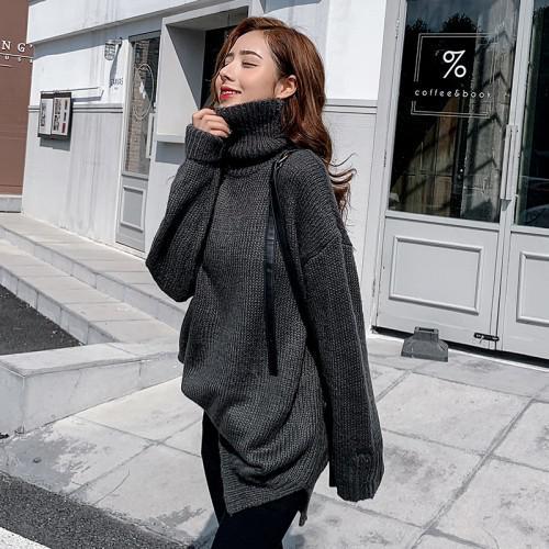 11 韓國 高領外穿紋針織毛衣 (2色)