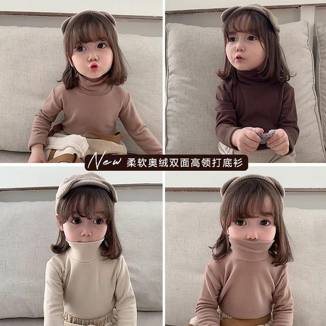 女童打底衫2020新款兒童男女同款長袖t恤冬裝高領秋衣保暖上衣潮